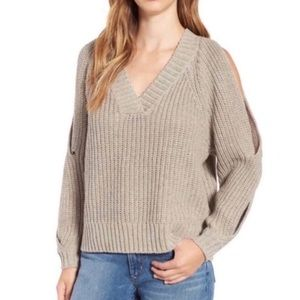 Leith chunky cold shoulder knit sweater